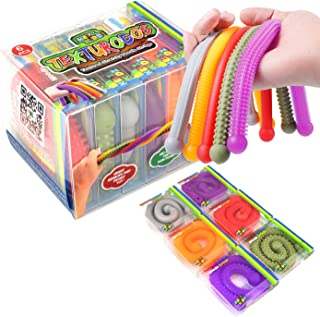 Texturodos - 耐用纹理(*申请中)弹性绳解压和感官玩具 - 独立包装的猴子面条 - 儿童*压力和*缓解器(6 件装)