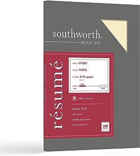Southworth 100% Cotton Résumé Paper, Gray, 32-Lb, 8.5 x 11 Inches, 100 Count (R18GCF/24)