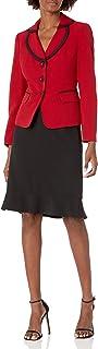 Le Suit 女式弹力绉纱 3 粒扣荷叶边下摆裙套装