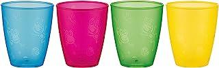 """Nuby 不含 BPA 4 只装趣味饮水杯,9 盎司 多色 5 """"英寸"""
