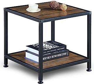 GreenForest 床头柜 带储物架 2 层金属框架边桌 适用于客厅卧室,易于组装,胡桃木