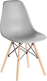 Bold Tones 中世纪现代风格塑料 DSW 贝壳餐椅带实心榉木钉埃菲尔铁腿,灰色,1
