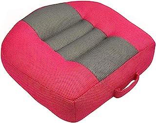 DIIQII 汽车增高坐垫 增高高度 增高垫 透气网眼便携式成人汽车增高座椅 适用于短驾驶员 非常适合汽车、办公室、家用(玫瑰红-灰色)