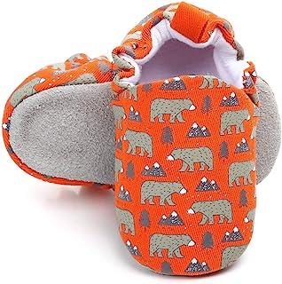 KIDSUN 婴儿女童男孩拖鞋可爱卡通动物运动鞋莫卡辛软鞋防滑First Walkers House Shoes 1_orange Bear 12-18 Months Infant