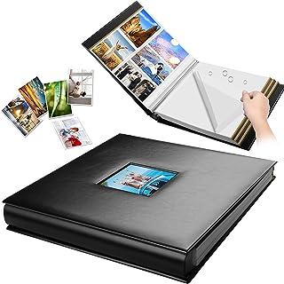 自粘相册,皮革封面 80 页粘贴页,磁性剪贴簿家庭书,用于圣诞礼物,生日婚礼*图片相册可容纳 4X6,5X7,6X8,8X10,8.5x11(黑色,大号)