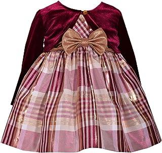 Bannie Jean 女孩无袖格子塔夫绸*红色长袖开衫连衣裙 - 假日连衣裙