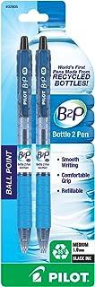 PILOT B2P - 瓶装到笔可填充和可伸缩圆珠笔,回收瓶装,中等笔尖,黑色墨水,2 支装 (32805)