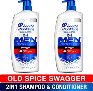 Head and Shoulders 洗发水和护发素2合1,防*护理,Old Spice Swagger 男士31.4液体盎司(80ml)2件装