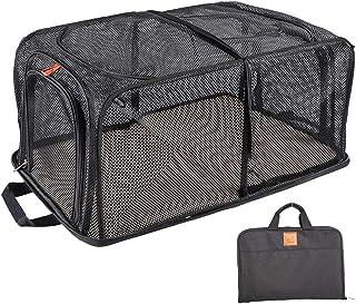 SMONT 可折叠软边宠物箱 适用于中型猫 小型犬和兔子 宠物汽车旅行载体 室内外宠物房黑色