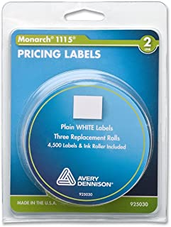 Monarch PAXAR 双线价格标签,1.60 x 1.91 厘米,白色,每包 3 卷(925030)