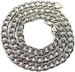 水晶镶嵌银色镀金锁扣男士链项链 76.2 cm
