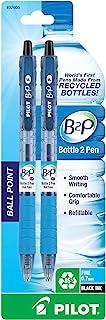 PILOT B2P - 瓶装到笔可填充和可伸缩圆珠笔,回收瓶制成,细笔尖,黑色墨水,2 支装 (32605)
