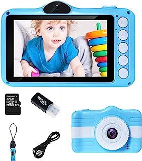 儿童数码相机,男孩女孩相机,适合3-10岁 3.5 英寸大屏幕,自拍相机,带32GB SD卡,SD读卡器CF3  蓝色