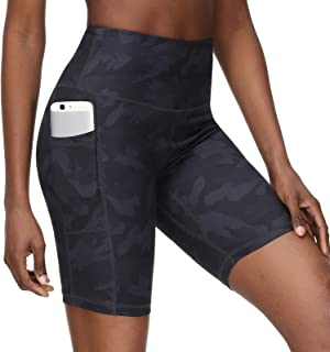 Youthor 8 英寸(约 20.3 厘米)女式健身短裤,女士骑行短裤,高腰跑步短裤,女士运动短裤,带口袋