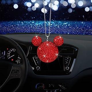 OTOSTAR 闪亮水晶汽车挂饰,汽车后视镜吊坠挂饰,室内遮阳挂饰,闪亮汽车配件,适合女士女孩(红色)