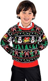 SoCal Look 男童丑陋圣诞毛衣雪人霸王龙套头黑色
