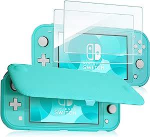 ProCase Nintendo Switch Lite 翻盖手机套带 2 件装钢化玻璃屏幕保护膜,超薄翻盖手机套带磁性可拆卸前盖适用于 Nintendo Switch Lite 2019PC-08362335