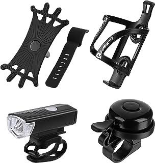 4 件超亮 USB 可充电自行车灯套装包括自行车瓶笼自行车水瓶架自行车手机支架和自行车铃