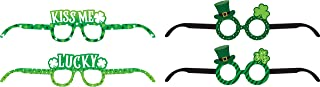 Creative Converting 343106 圣帕特里克节各式纸杯眼镜,眼镜尺寸为 8.89cm x 40.64cm 平面,10.80cm x 41.91cm 平面,多色