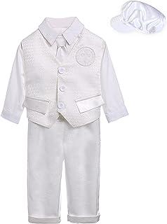 KOGWER 男婴洗礼套装套装,十字绣,长袖 5 件套