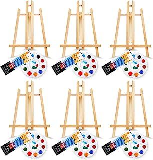 72 件专业绘画用品套件,带 6 件木质画架,6 包 60 支带尼龙刷头,6 个调色板,适合儿童和成人绘画或生日绘画派对