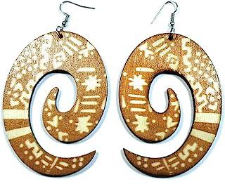 Teri's Boutique India 一对非洲部落乌木波西米亚嬉皮风格木制吊坠时尚耳环
