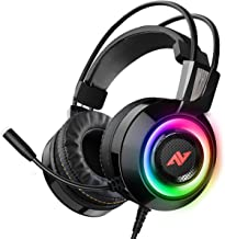 ABKONCORE CH60 游戏耳机 带真正的 7.1 环绕声 适用于 PC、PS4、笔记本电脑、低音振动、降噪、软耳罩耳机带麦克风、LED 灯、FPS 游戏直列控制器 - 黑色