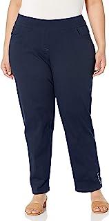 SLIM-SATION 女式加大码宽带套穿及踝裤子,正面有口袋
