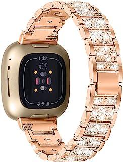 OCEBEEC Bling 钻石表带兼容 Fitbit Versa 3 / Fitbit Sense 女士水晶时尚腕带女士装扮珠宝替换腕带适用于 Fitbit Versa 3 和 Fitbit Sense