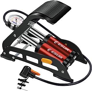 ESUIK 双缸脚踏车泵带压力仪,便携式自行车地板泵带 160PSI 精密测量和智能阀门,充气泵适用于自行车、摩托车、汽车、球和充气