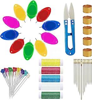 10 件针线器,手工缝纫,塑料线圈 DIY 手工缝纫工具套装针线器,适用于机器缝纫工艺