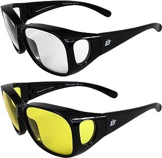 2 副 Birdz 眼镜孔雀 大号 OTG (眼镜罩)戴眼镜黑框透明和黄色镜片