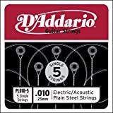 D'Addario PL010-5 普通钢吉他单弦,.010 5 件装