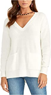 Rachel Roy 女式白色长袖 V 领上衣尺码 L