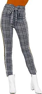 Khanomak 女式复古铅笔高腰方格侧条纹束腰裤