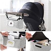 HaloVa 婴儿车收纳包,婴儿推车推车收纳袋,优质尿布袋,悬挂储物袋,适合所有婴儿车,超大储物空间 白色圆点