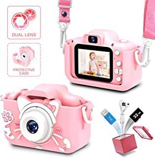 女童和男孩的儿童相机,儿童相机数码视频,儿童相机 2.0 英寸屏幕 20.0 万像素视频,32GB SD 卡,儿童玩具生日礼物,适合 3 - 12 岁孩子的礼物(猫粉色)