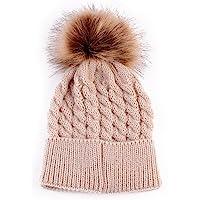 oenbopo 婴儿冬季保暖针织帽婴儿学步儿童钩针发球无檐帽