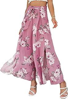 Simplee 女式优雅条纹开叉高束腰宽松阔腿裤