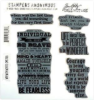 Tim Holtz 吸附安装印章集印章匿名艺术工具橡胶印章 Way with Words 红色