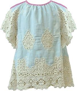 MikiMiette 女童背心开肩轻 T 恤上身采用刺绣细节设计