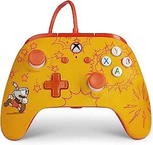 适用于 Xbox One 的增强有线控制器 - Cuphead 、游戏控制器、有线视频游戏控制器、游戏控制器、Xbox One,可与 Xbox 系列 X|S 配合使用