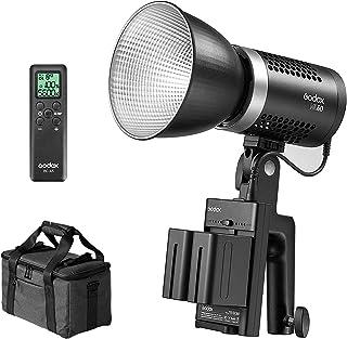 Godox ML60 LED 灯,便携式手持式 LED 灯,60W 8FX 效果,CRI 96+/TLCI 97+,超静音风扇,带 NP-F970 可充电电池 + RCA6 遥控器