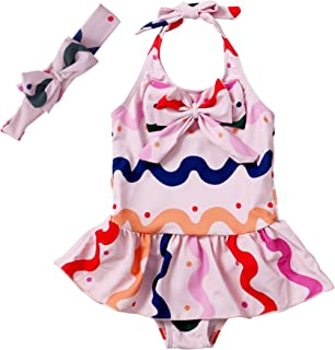 Jastore 女婴泳装连体泳衣沙滩装带头带