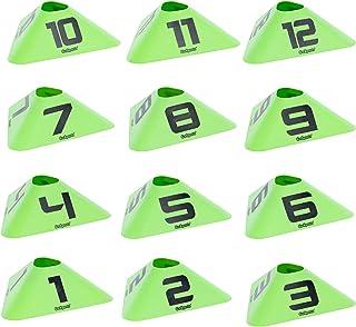 GoSports 现代运动锥体 - 12 个带编号锥体 - 非常适合足球、篮球、足球等