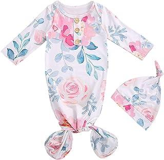 Dourbesty 新生女婴男童睡袍针织长袖条纹睡袋 纯色打结回家套装