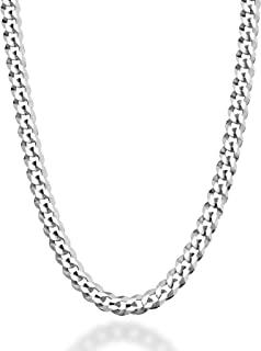 MiaBella 纯色 925 纯银意大利 5 毫米钻石切割古巴链项链 男女适用 16、18、20、22、24、26、30 英寸意大利制造