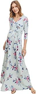 HELLO MIZ 女士人造裹身长裙带腰带孕妇连衣裙 - 美国制造 薄荷/粉色花朵 X-Large