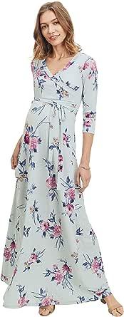 HELLO MIZ 女式仿裹身长裙孕妇连衣裙带腰带 - 美国制造 Mint/Pink Flower X-Large