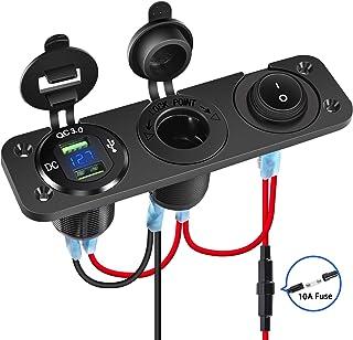 Nilight 4 合 1 充电器插座面板双 QC3.0 USB 充电器带 LED 电压表显示和点烟器插座和电源截止开关,避免电池排水开关,适用于 UTV、ATV ,2 年保修